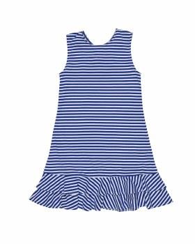 Royal & White Stripe Knit. 50% Polyester 50% Cotton