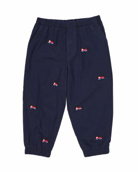 Navy Twill 100% Cotton.  Embroidered Firetrucks