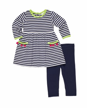 Navy & Stripe Knit. 97% Cotton 3% Spandex. Pom Poms. Leggings