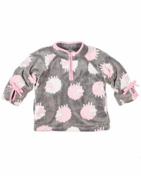 Grey, White & Pink Lamb Jacquard Fleece. 100% Polyester