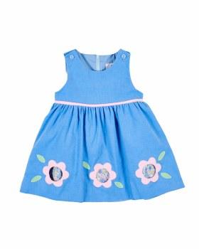 Medium Blue Corduroy Jumper, 100% Cotton, Applique Cutout Flowers