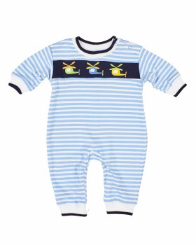 Blue Stripe Interlock Longall, 50% Cotton 50% Polyester,  Helicopters
