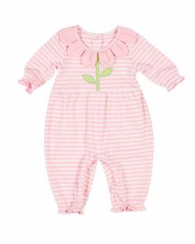 Pink Stripe Interlock Longall, 50% Cotton 50% Polyester,  Flower Petals