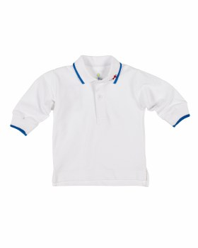White Pique Polo, 100% Cotton, Blue Tipping, Embroidered Airplane