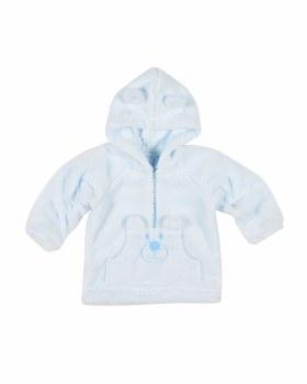Light Blue Plush Fleece Hoodie, 100% Polyester,  Appliqued Bear Face