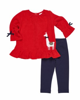 Red Fleece Top. (2PC) 100% Polyester with Llama Applique & Leggings