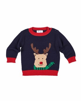 Navy & Red Sweater Knit. 100% Cotton.  Reindeer Intarsia
