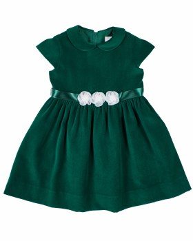Green Twill Velvet. 100% Polyester. Organza Collar, Flowers