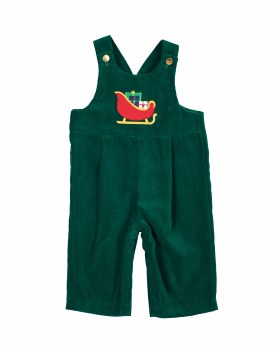 Green Twill Velvet. 100% Polyester. Sleigh with Presents