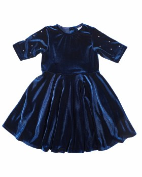 Navy Stretch Velvet. 93% Poly 7% Spandex. Pearls on Sleeves