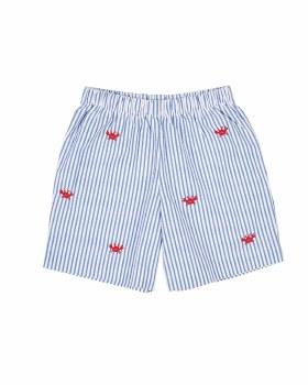 Blue and White Stripe Seersucker, 100% Cotton, Embroidered Crabs