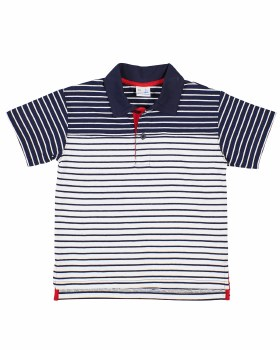 White, Navy Stripe Knit, 97% Cotton 3% Spandex, Red Placket