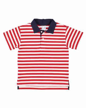 Red, White Stripe Knit, 97% Cotton 3% Spandex, Navy Collar