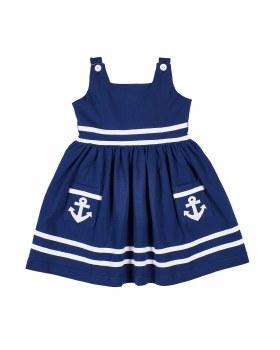 Navy Knit, 100% Cotton, Anchor Applique, White Trim