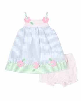 Multi Pastel Seersucker Dress, Bloomer, 100% Cotton, Flowers