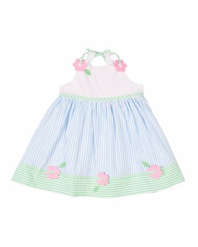 Multi Pastel Seersucker Dress, 100% Cotton, Flowers
