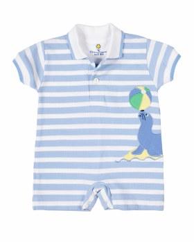 Light Blue Stripe Knit Pique Shortall, 100% Cotton, Seal