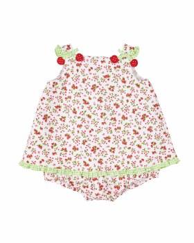 Cherry Print Finewale Pique Romper, 50% Cotton, 50% Polyester, Cherries