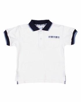 White Interlock, 100% Cotton, Navy Collar,Blue Tip, Plaid Trim