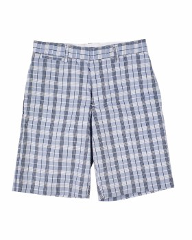 Blue, Navy, White Plaid, 98% Cotton 2% Spandex, Lined