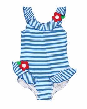 Blue and White Stripe Seersucker, 70% Nylon 20% Polyester 10% Elastan, Flowers