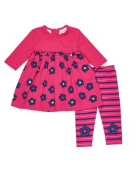 Fuchsia, Navy, Grey Floral dress, Stripe Legging with Knee Flowers 2pc