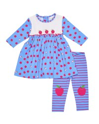 Blue, Fuchsia Apple Dress, Apple Appliques, Stripe Legging with Apple Knees 2 PC