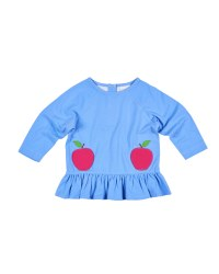 Blue French Terry Top, 95% Cotton 5% Spandex,and Apple Pockets