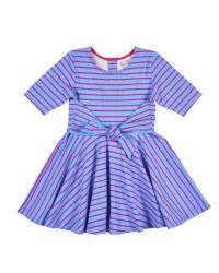 Blue, Fuchsia Stripe Wrap Dress