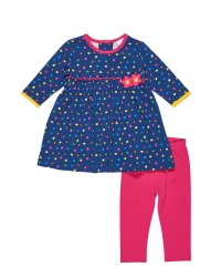 Navy, Multi Scattered Dot Dress with Flowers and Fuchsia Legging 2pc