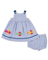 Blue & White Stripe Seersucker. 100% Cotton. Fish & Bloomer (2pc)s. Lined