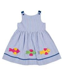 Blue & White Stripe Seersucker. 100% Cotton. Fish. Lined
