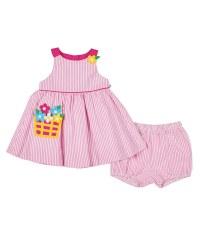 Pink & White Stripe Seersucker. 100% Cotton. Flower Basket & Bloomer (2pc)
