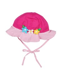 Pink & White Stripe Seersucker. 100% Cotton. Flowers on Hat
