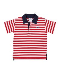 Red & White Stripe & 97% Cotton 3% Spandex & Embroidered Fish