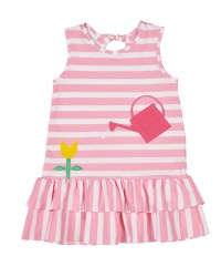 Pink & White Stripe Knit. 97% Cotton 3% Spandex with Watering Can Pocket