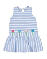 Light Blue Stripe Knit Pique Dress, 100% Cotton, Tulips
