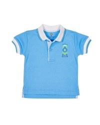 Light Blue Interlock Tee Polo, 100% Cotton, Applique Train