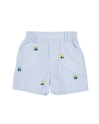 Light Blue Seersucker Shorts, 100% Cotton, Embroidered Trains