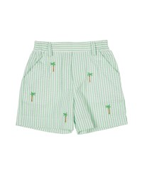 Light Green Seersucker Shorts, 100% Cotton, Embroidereed Palm Trees