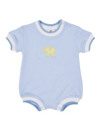Light Blue Interlock Romper, 100% Cotton, Elephant Pull Toy