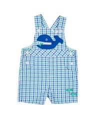 Blue & Green Check Seersucker Shortall, 100% Cotton, Whale