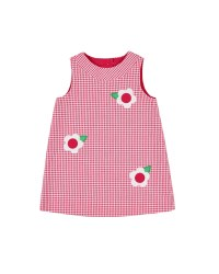 Cherry, White Check Seersucker. 65 Cotton 35 Poly & Cutout Flowers. Lined