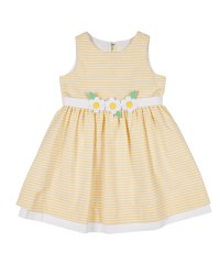 Yellow with White Raised Stripe. 50% Cotton 50% Poly Lined. Flowers