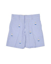Blue & White Seersucker Check & 100% Cotton. Embroidered Sailboats
