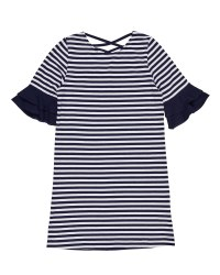 Navy & White Stripe Knit & 97% Cotton 3% Spandex