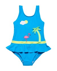Blue 80% Nylon 20% Spandex Tropical Scene Applique