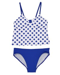 White & Blue Dot Top 92% Nylon 8% Elastan Royal Bottom. Bra Pads