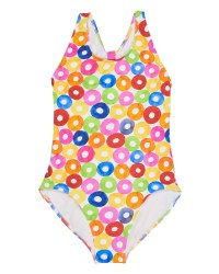 White Multicolor Doughnut Print 90% Nylon 10% Elastan. Lined