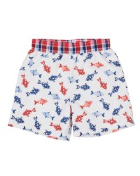White, Navy and Red Fish Print. 100% Cotton. Lined